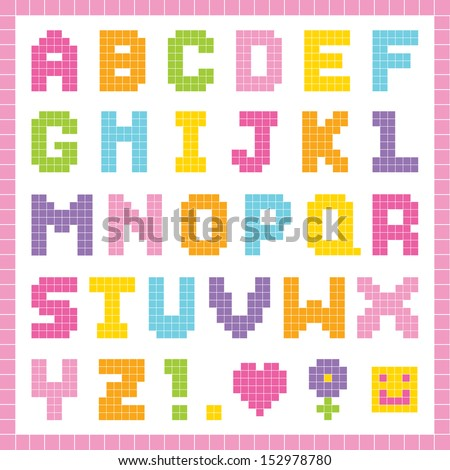 Cute pixel art alphabet set in pretty colors, isolated on white with clipping path. Good for scrap-booking, school projects, posters, textiles. See my folio for vector version and for other colors.