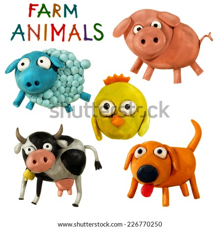 Cute plasticine / clay farm animals collection isolated on white background. Pig, cow, chicken, dog, sheep - stock photo