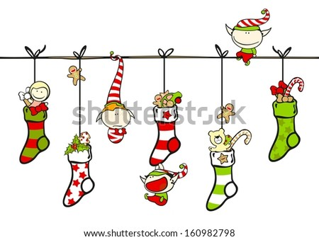 Cute playing elves with Christmas stockings (raster version) - stock photo