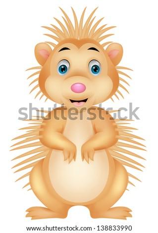Cute porcupine cartoon - stock photo