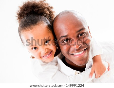 Cute portrait of a father and daughter - isolated over white  - stock photo