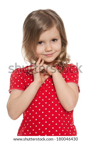 Cute preschool girl against the white background - stock photo