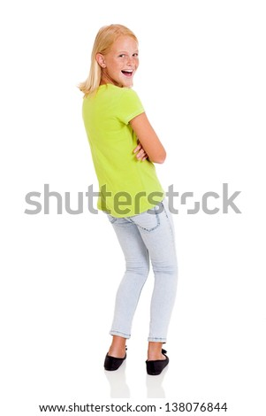 cute preteen girl looking back isolated on white - stock photo