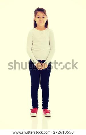 Cute pretty little girl posing - stock photo