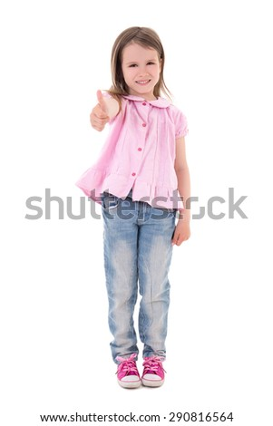 cute pretty little girl thumbs up isolated on white background - stock photo