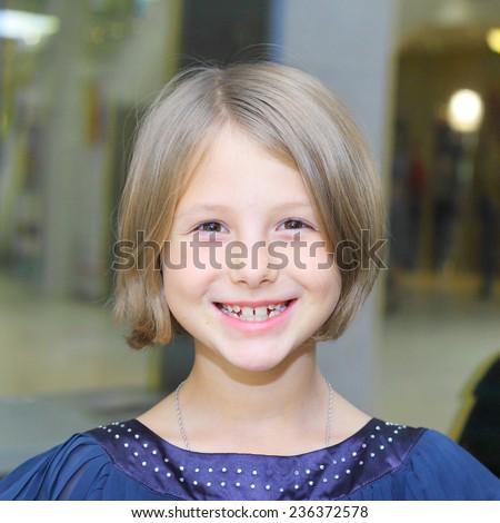 cute pretty smiling girl closeup - stock photo