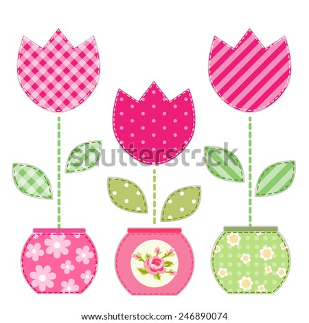Cute primitive retro tulips in flowerpots as patch applique - stock photo