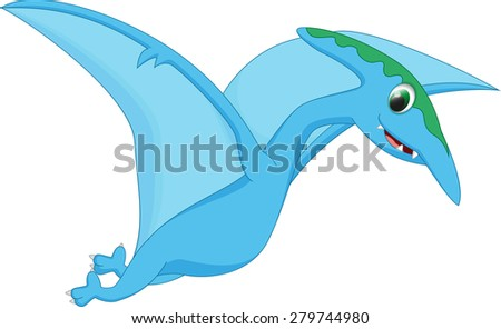 cute pterodactyl cartoon - stock photo