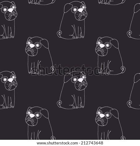 Cute pug pattern on dark - stock photo