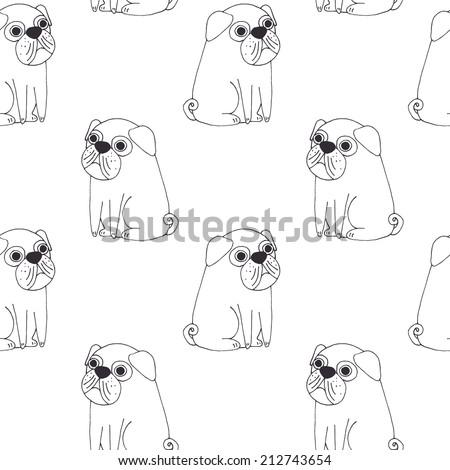 Cute pug vector pattern - stock photo