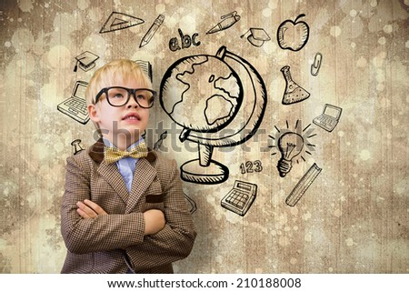 Cute pupil dressed up as teacher against paint splattered paper - stock photo