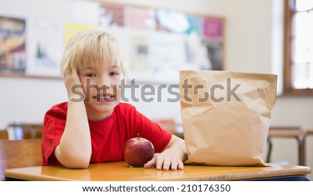 Cute pupil smiling at camera at desk in classroom at the elementary school - stock photo