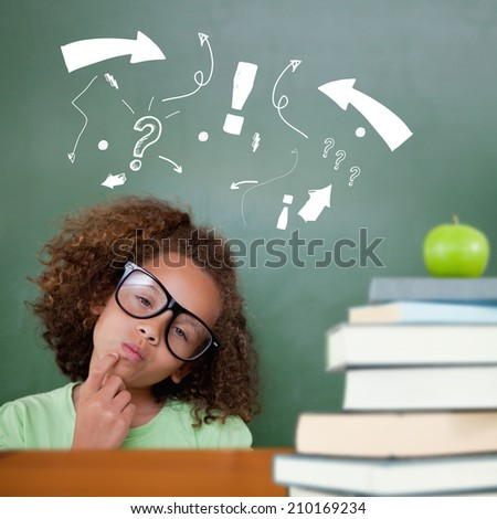 Cute pupil thinking against green apple on pile of books - stock photo