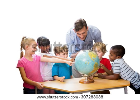 Cute pupils and teacher looking at globe in library against white background with vignette