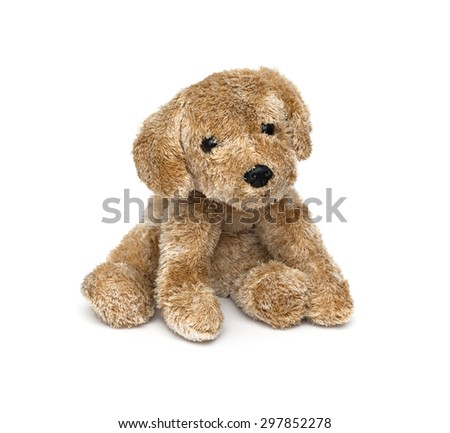 Cute puppy toy shot on white - stock photo
