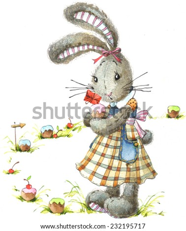 Cute rabbit. Watercolor bunny. Cute bunny background for greetings card. Cute rabbit and sweet cupcakes