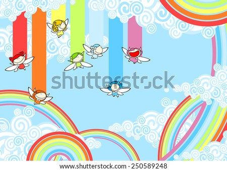 Cute rainbow fairies (raster version) - stock photo
