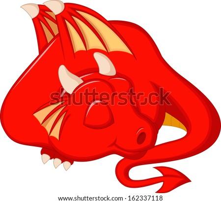 Cute red dragon cartoon sleeping - stock photo