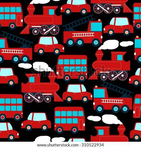 Cute red transport children in a seamless pattern.