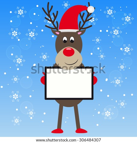 Cute reindeer holding a white message board on blue background and snowflakes