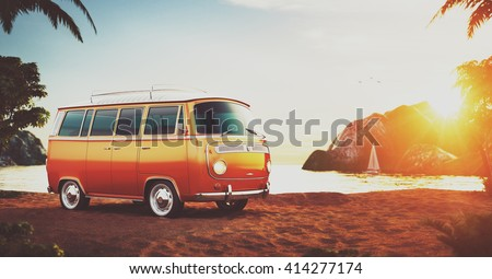 Cute retro car on a beach at beautiful sunset. Out of town.  Unusual 3D illustration of cartoon made up car - stock photo