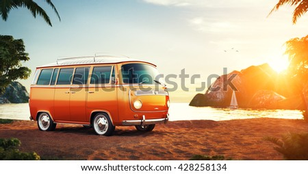 Cute retro car on a summer beach at beautiful sunset. Out of town.  Unusual 3D illustration. Travel and vacation concept. Summer time illustration