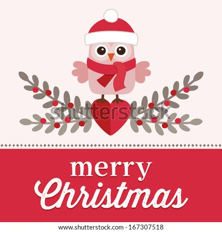 Cute retro Christmas card design with sweet little owl in santa hat on pink and red background. - stock photo