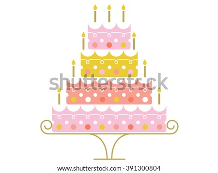 Cute retro inspired birthday cake with candles on a cake stand.