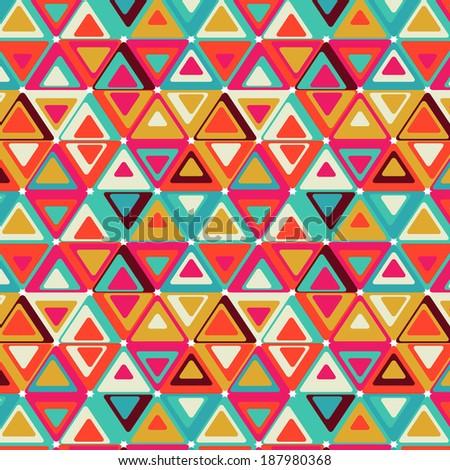 Cute retro pattern of triangles.  - stock photo