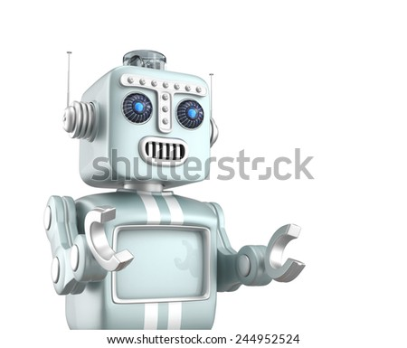 Cute retro robot raising his hands like speech at public. Clipping path available. - stock photo
