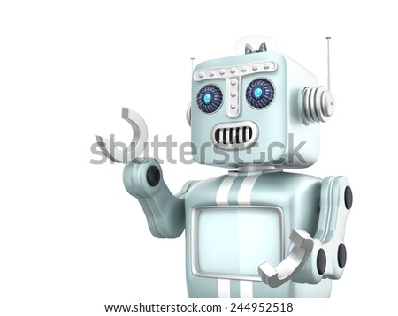Cute retro robot raising his right hand to point forward. Clipping path available. - stock photo