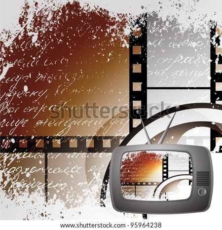 cute retro tv, Film cinema camera in film strip frame - stock photo