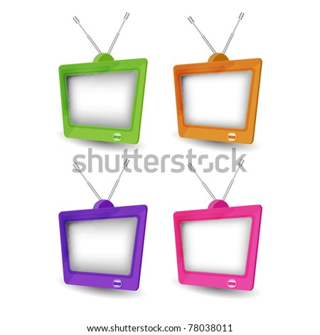 Cute retro tv vector - stock photo