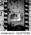 cute retro tv vector, Film cinema camera in film strip frame - stock photo