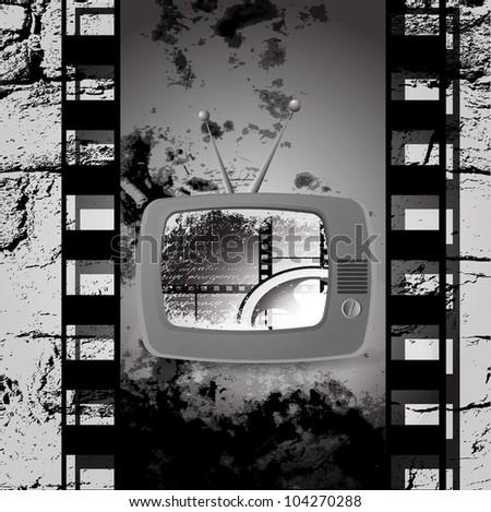 cute retro tv vector, Film cinema camera in film strip frame - stock photo
