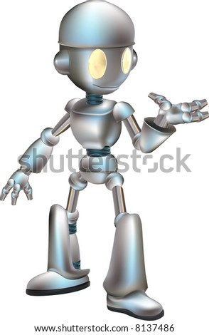 Cute Robot A  illustration of a cartoon cute shiny robot