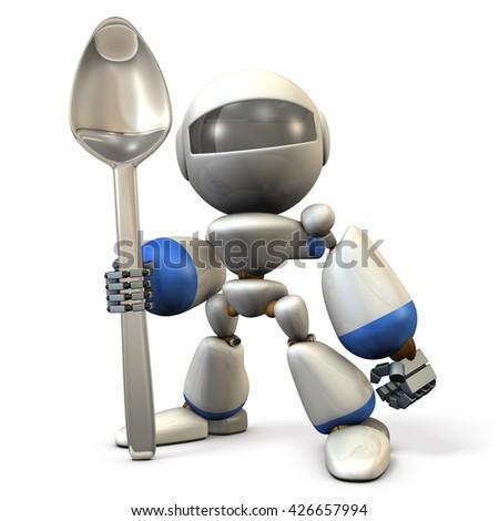 Cute robot  has a big spoon. 3D  illustration - stock photo
