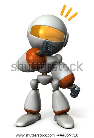 Cute robot has guessed the real intention of the other. 3D illustration - stock photo