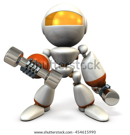 Cute robot, have tempered the body with dumbbell. 3D illustration, - stock photo