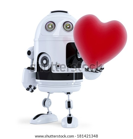 Cute robot holding a big red heart. Isolated - stock photo