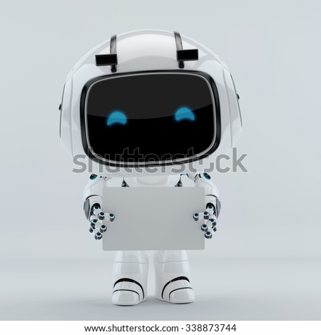 Cute robot holding and giving you white blank board for your ad - stock photo