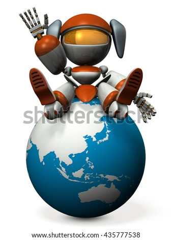 Cute robot invites you to Asia. 3D illustration - stock photo