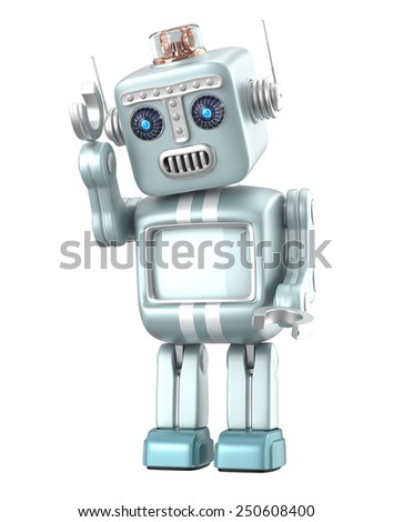 Cute robot look at the ground and thinking - stock photo