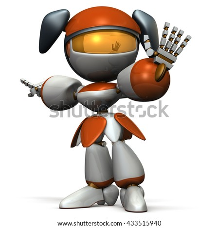 Cute robot rejected the opponent. 3D illustration - stock photo