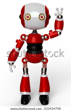 cute robot saying hello - stock photo