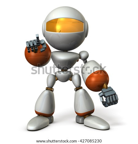 Cute robot will nominate you. 3D illustration - stock photo