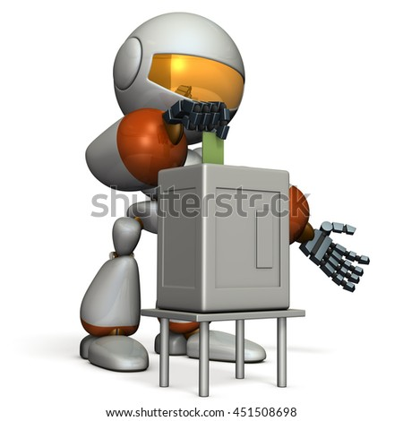 Cute robot will vote.  3D illustration