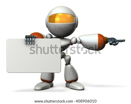 Cute robot with message boards, is pointing. 3D illustration - stock photo