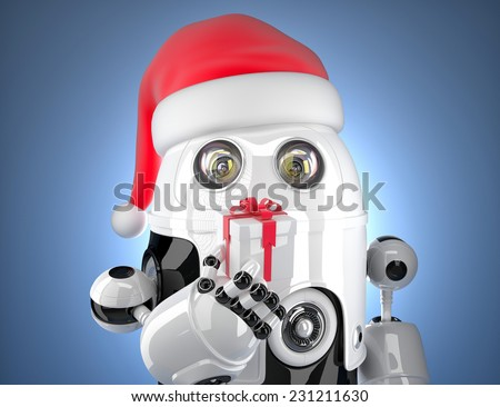 Cute robot with santa's hat holding gift box. Technology concept. Contains clipping path - stock photo