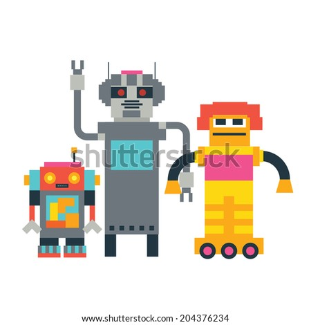 Cute robots family  Raster version - stock photo